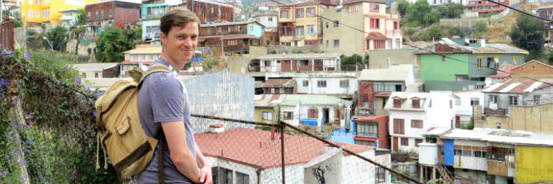 Dave Burdick wearing a backpack in Valparaiso, Chile.
